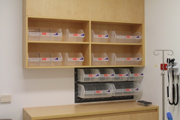 Hospital patient bay storage meshpak bins